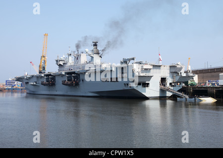 Amphibious assault ship  HMS Ocean of the Royal Navy seen within the Port of Sunderland on the river Wear North - Stock Photo