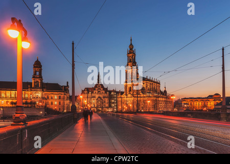 View from Augustus Bridge to the house of the estates and the Catholic Court Church, Dresden, Saxony, Germany, Europe - Stock Photo