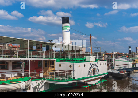 1926 built paddle wheel steamer Dresden at the landing place Terrassenufer, Dresden, Saxony, Germany, Europe - Stock Photo