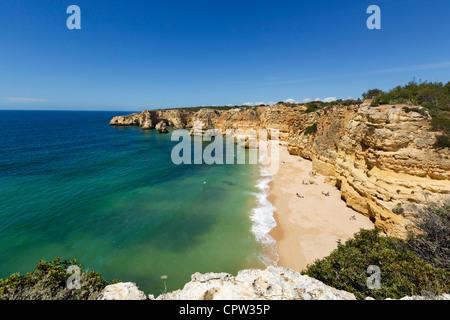 Praia da Marinha beach near Benagil, on the coast between Portimao and Albufeira, Algarve, Portugal - Stock Photo