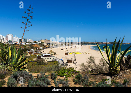 View over the main beach in the centre of the resort of Praia da Rocha, Portimao, Algarve, Portugal - Stock Photo