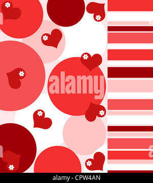 Hearts and flowers with stripes pattern in red and white - Stock Photo