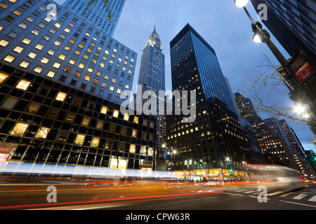 Chrysler Building at dusk at 42nd St and Lexington Avenue, New York City. - Stock Photo