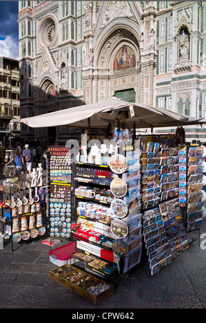 Souvenir stall selling guidebooks, maps and souvenirs in Piazza di San Giovanni, Tuscany, Italy - Stock Photo