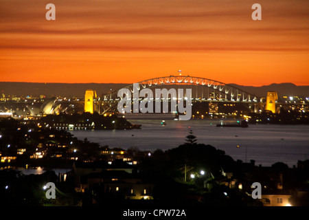 Sydney Harbour Bridge at sunset / twilight Sydney New South Wales Australia - Stock Photo