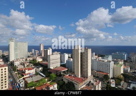 Havana. Cuba. View of high rise buildings in El Vedado. - Stock Photo