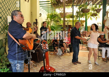 Havana. Cuba. Band performing in restaurant on Calle Obispo. Bar Cafe Bosque Bologna Habaguanex, Habana Vieja / - Stock Photo