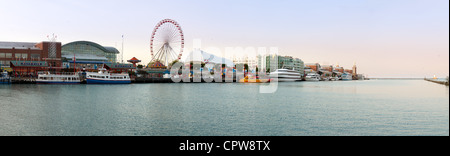 CHICAGO - MAY 14: Panorama of Navy Pier on May 14, 2012. Navy Pier is a 3300 foot pier built in 1916 - Stock Photo