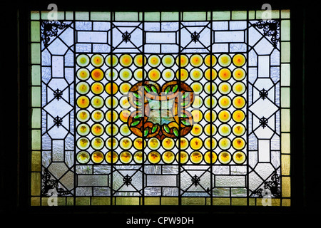 A classic Louis Comfort Tiffany stained glass window in St Augustine's Flagler college, Florida - Stock Photo