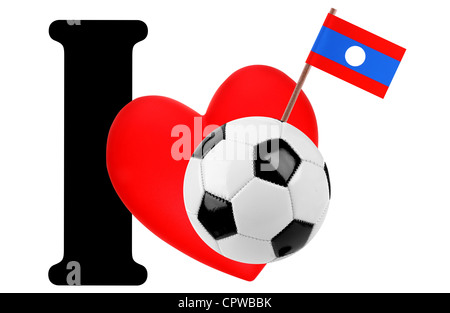 Small flag on a red heart and the word I to express love for the national flag of Laos - Stock Photo