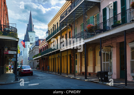 The French Quarter, also known as the Vieux Carré, in New Orleans - Stock Photo