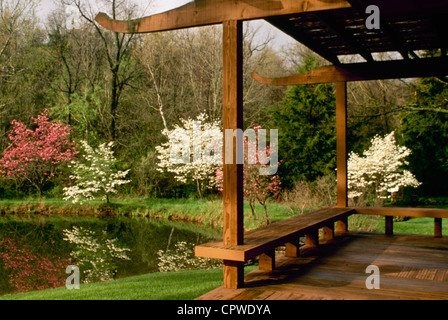 Lake with wooden deck and benches overlooking houses ...