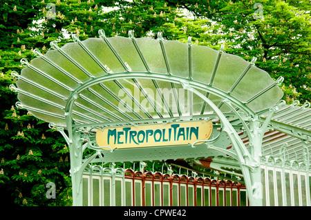 Porte Dauphine metro station in Art Nouveau design, Paris, France - Stock Photo
