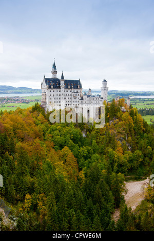 Schloss Neuschwanstein castle, 19th Century Romanesque revival palace of Ludwig II of Bavaria in the Bavarian Alps, - Stock Photo