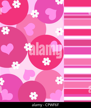 Hearts and flowers with stripes pattern in shades of pink - Stock Photo