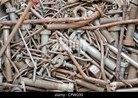 Rusty nails and screws texture background - Stock Photo