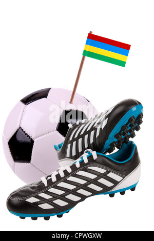 Pair of cleats or football boots with a small flag of Mauritius - Stock Photo