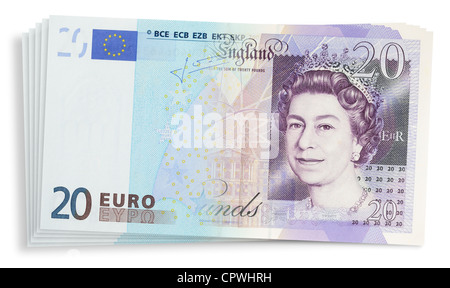 Euro and Sterling banknotes blended together. - Stock Photo