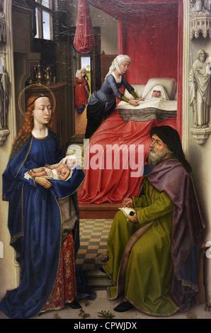 Gothic Art. Flanders. Rogier van der Weyden. Saint John the Baptist Altarpiece, 1455-1460. The Naming of John the - Stock Photo