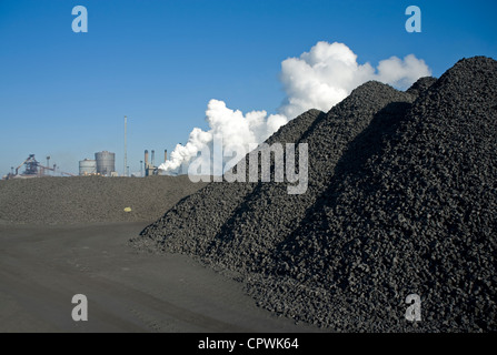 Coke stock yards at the former British Steel works at Redcar, now operated by Sahaviriya Steel Industries (SSI) - Stock Photo