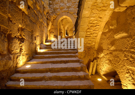 Asia Jordan Ajloun Castle of  Ar Rabad - Stock Photo