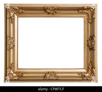 Gold coloured plastic picture frame - Stock Photo
