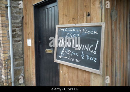 Eggs forsale at farm gate in the Teign Valley in Devon England - Stock Photo