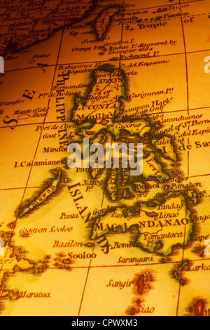 Old map of the Philippines or Philippine Islands, focus on Manila. Map is from 1799 and is out of copyright. - Stock Photo
