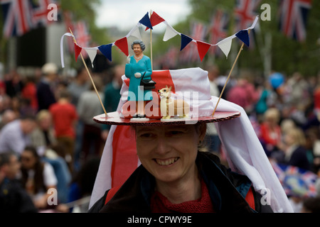 Monarchists celebrate their Queen's Diamond Jubilee weeks before the Olympics come to London. The UK enjoys a weekend - Stock Photo