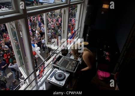 Soho celebrates the Queen's Diamond Jubilee weeks before the Olympics come to London. The UK gears enjoys a weekend - Stock Photo