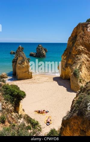 Beach at Praia do Vau, near Portimao, Algarve, Portugal - Stock Photo