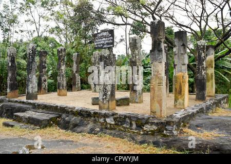 Ruins of old resthouse at Embekka Devale, Kandy, Sri Lanka - Stock Photo