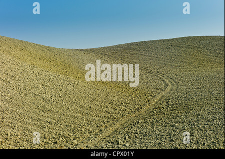 Tuscan parched landscape sun-baked soil in Val D'Orcia, Tuscany, Italy - Stock Photo