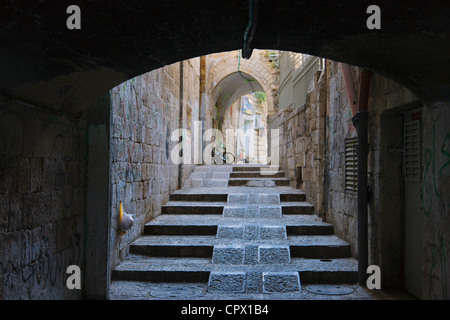 Ancient street in the old town, Jerusalem, Israel - Stock Photo