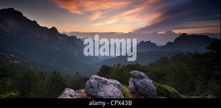 the Col de Bavela at dawn, Corsica, France - Stock Photo