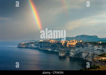 a rainbow over Bonifacio, Corsica, France - Stock Photo