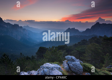 the Col de Bavella at dawn, Bavella Mountains, Corsica, France - Stock Photo