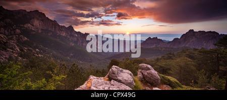 the Col de Bavella at dawn, Corsica, France - Stock Photo