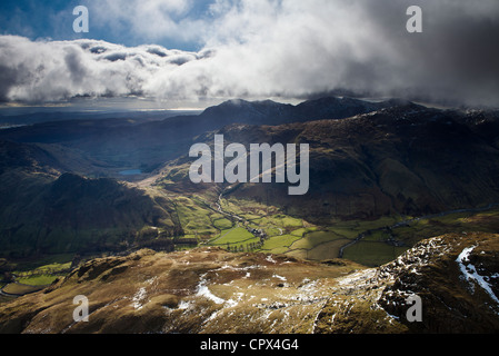 Langdale from the peak of Harrison Stickle, Langdale Pikes, Lakes District National Park, Cumbria, England - Stock Photo