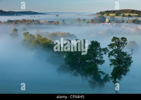 a misty autumn morning, Milborne Port, on the Dorset/Somerset Border, England UK - Stock Photo