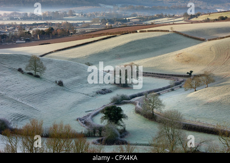 a frosty morning overlooking the road to Oborne, Dorset, England, UK - Stock Photo