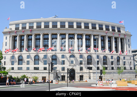 Unilever House headquarters curved building with union jackl flags Blackfriars City of London England UK - Stock Photo