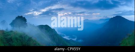 the Ella Gap at dawn from Little Adam's Peak, Southern Highlands, Sri Lanka - Stock Photo