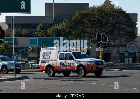 Johannesburg Metropolitan Police van driving on the roads - Stock Photo