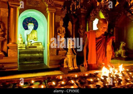 Myanmar Burma Yangon Division Yangon Kandawgyi District Park of People Swhedagon Pagoda Paya Shwedagon monk MSyriya - Stock Photo