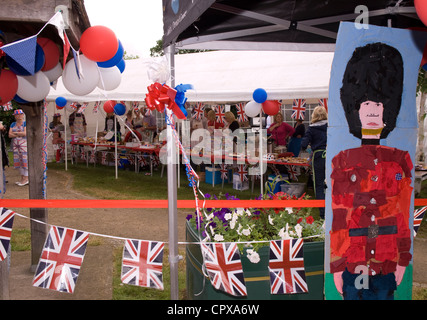 Food and beverage tent at the celebrations for the Queen's Diamond Jubilee, Rowledge Village - Stock Photo