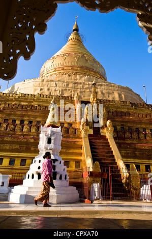 Myanmar Burma Mandalay Division Bagan Pagan between villages of Wetkyi-In Nyaung U Shwezigon pagoda Paya Shwezigon - Stock Photo
