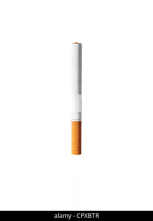 Photo shows a picture of an unused cigarette standing up from its bud - Stock Photo