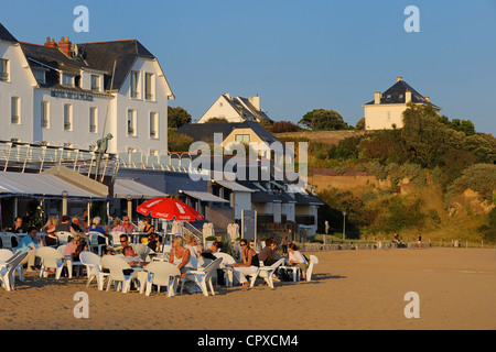 France, Loire Atlantique, Saint Nazaire, St Marc Beach where was filming Les Vacances de Monsieur Hulot by Jacques - Stock Photo