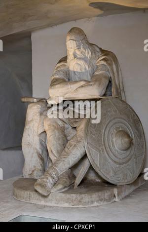 Statue of Ogier the Dane at Kronborg castle, Denmark (Holger Danske) - Stock Photo